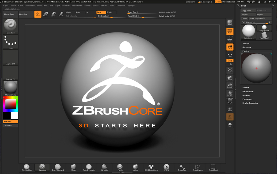 ZBrushCore has the same UI as ZBrush