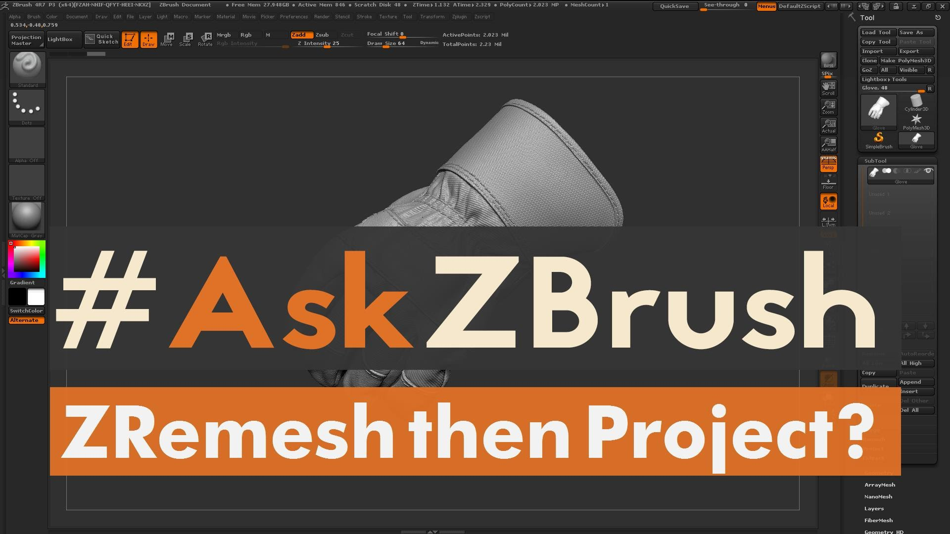 """#AskZBrush – """"How can I ZRemesh a model then transfer the details back?"""""""