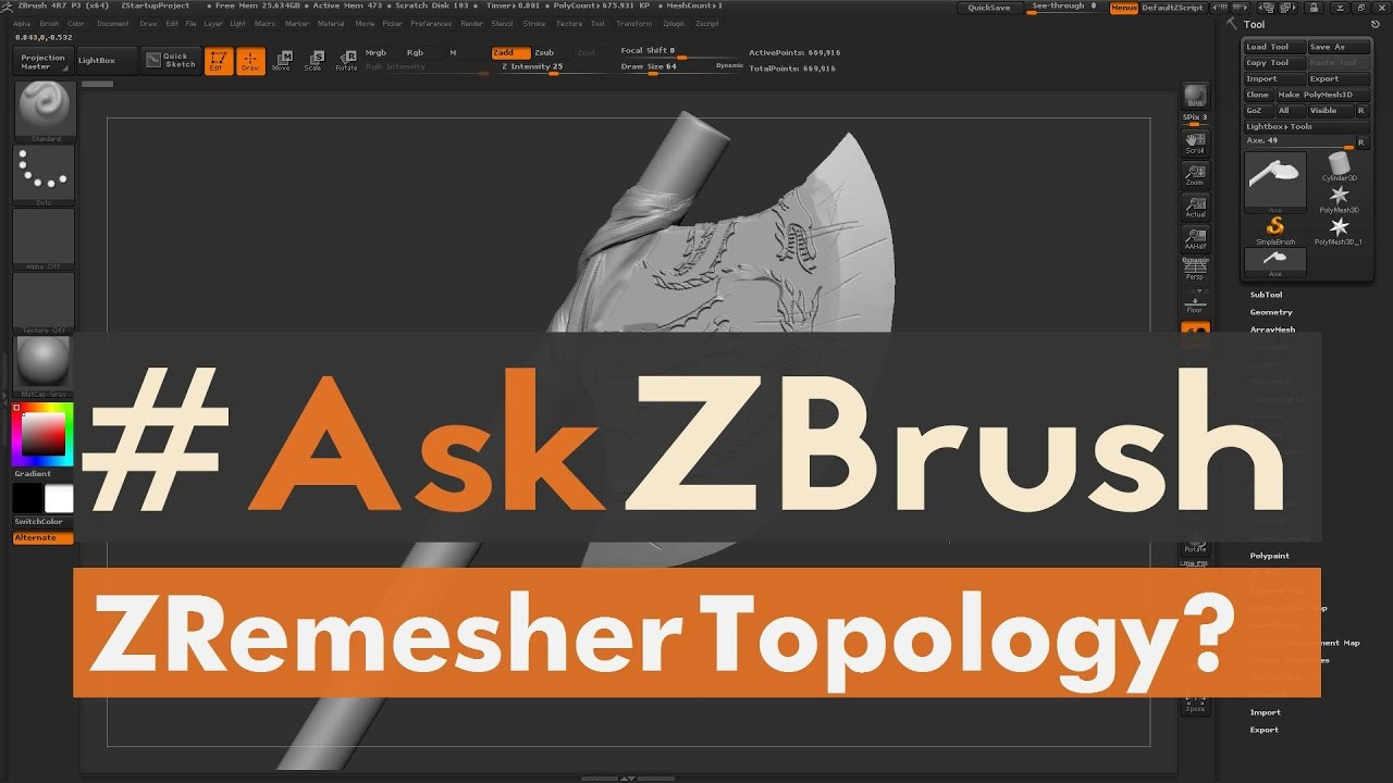 "#AskZBrush: ""How can I fix uneven topology when using ZRemesher?"""