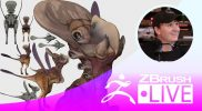 "ZBrush 2019 – Creature Sculpting & Exploration of Forms with Brett Briley ""Spark"" – Episode 20"