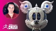 [ES-MX] Combining a Tibetan Skull + Mickey Mouse – Óscar Trejo – ZBrush 2020
