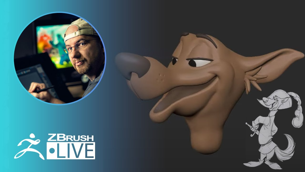 3D Model a Disney Style Canine Character in ZBrush #withme ! – Shane Olson – Part 4
