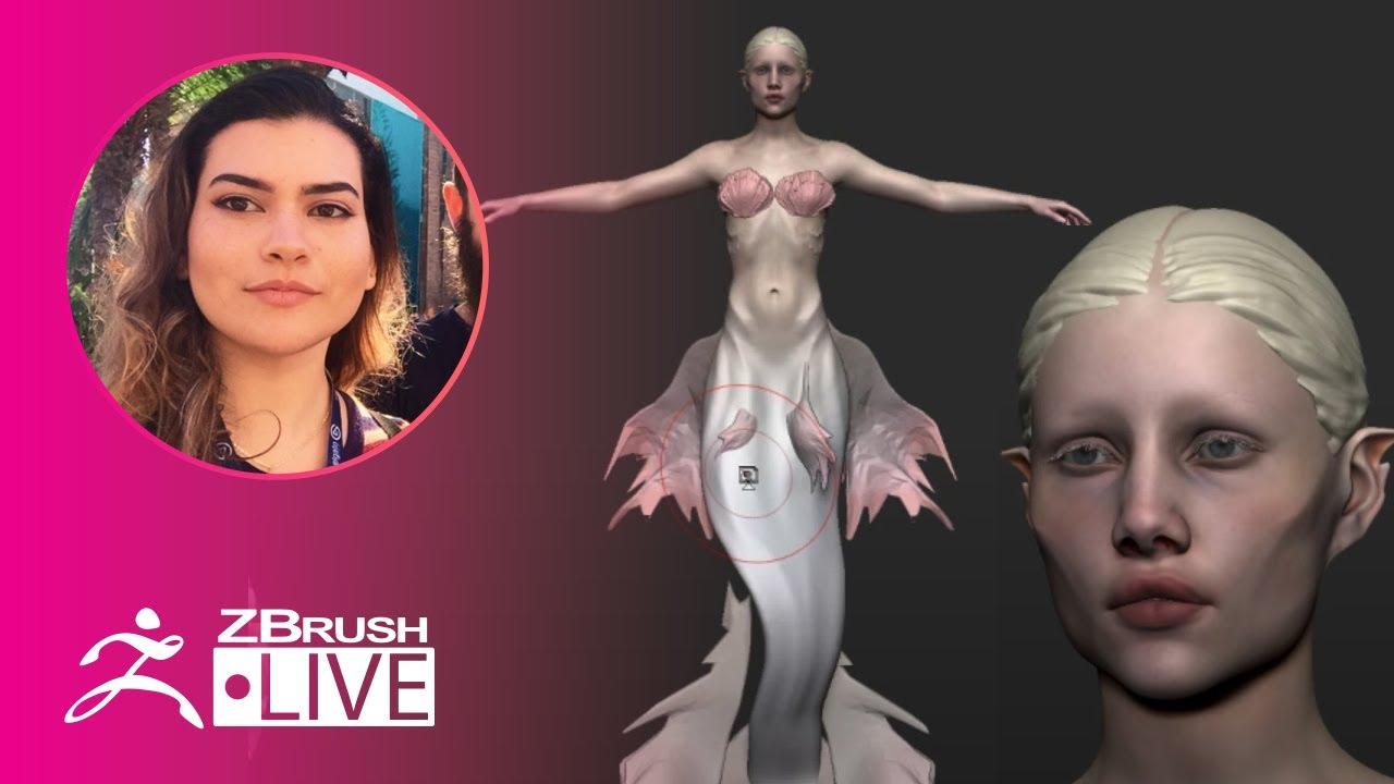 [PT-BR] 3D Model a Mermaid #withme ! – Ana Carolina Pereira – ZBrush 2020 – Part 2