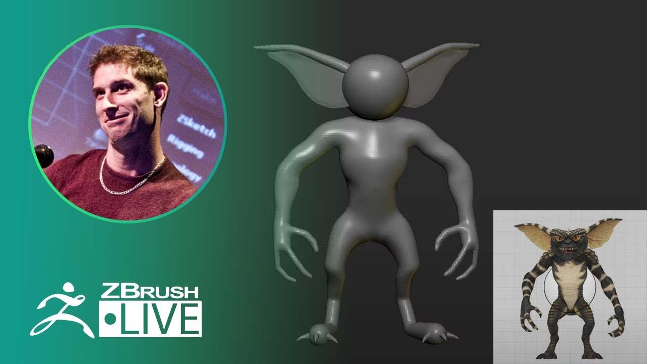 ZBrush 2020 – 3D Model an 80's Gremlin – Pixologic Paul Gaboury – Did You Know That? LIVE – Part 6