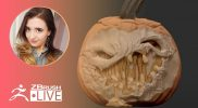 "Digitally Sculpt a Jack-o'-Lantern in ZBrush #withme! – Ashley A. Adams ""A_Cubed"" – ZBrush 2021"